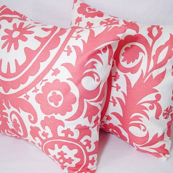 Pink Decorative Pillow Covers - 16 x 16 inch Salmon Suzani Decorative Throw Pillows - Couch Pillows - Accent Pillow