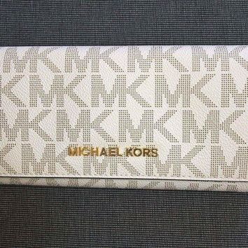 One-nice™ MICHAEL KORS LADIES LEATHER PURSE WALLET Vanilla MK Monogram Gold Hardware BNWOT