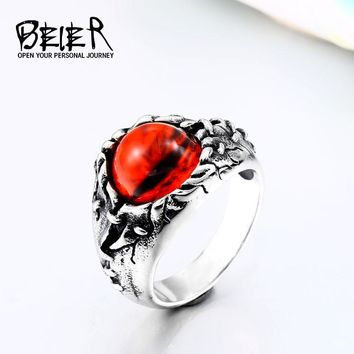 BEIER Stainless steel Punk Rock Zircon Red stone evil eye CZ ring men anniversary Biker Skull  jewelry christmas Gift BR8-578