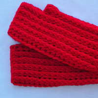 Free Shipping in the U.S.A - Firetruck Red - Fingerless Gloves Mittens - Crochet Hand Warmers Arm warmers - Fingerless Mitts Men Women Girls