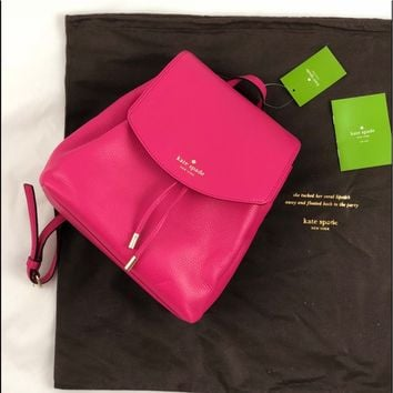 New! Kate Spade Hot Pink Leather Backpack