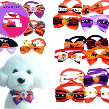New10pc/lot Halloween Christmas Holiday Dog Bow Ties Cute Neckties Collar Pet Puppy Dog Cat Ties Accessories Grooming Supplies