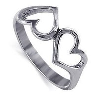 LWRS053-7 925 Sterling Silver Emotional Twin Heart Love Ring