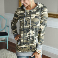 Autumn Women Fashion Camouflage Printed Hooded Hoodies Tops 2016 New Women Slim Pullovers Hooded Long-sleeved Sweatshirt M0624