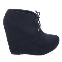 Pager Black By Soda, F-Suede Laced Up Close Toe Hidden Platform Wedge Bootie Soda Shoes