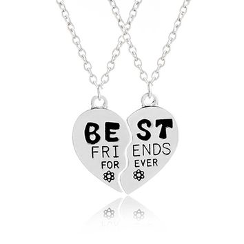 BFF Necklace Pendants women Best Friends forever For 2 Broken Heart shape Pendant Necklace flower friendship gift for bestfriend