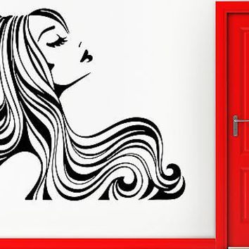 Wall Sticker Vinyl Decal Sexy Girl With Beautiful Hair Beauty Hair Salon (em423)