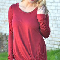 Forget Me Knot Top - Burgundy