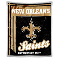 New Orleans Saints NFL Mink Sherpa Throw (50in x 60in)