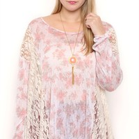 Plus Size Floral Print Tunic Top with Lace Details