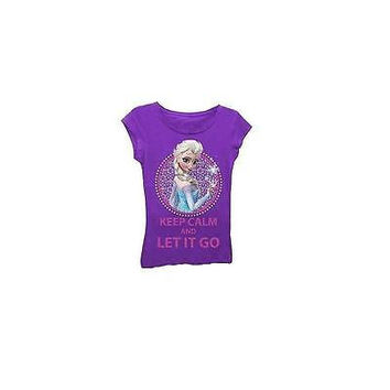 "Disney Frozen Girls' ""Let It Go"" Graphic Tee, Purple, Size: Large"
