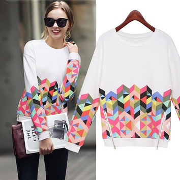 AliExpress Ebay Amazon sleeved sweater European and American models side zipper shirt printing Diamond (Color: White) = 1946133060