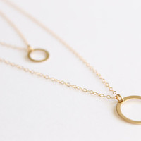 Small Gold Karma Circle - 14k Gold Necklace - Minimalist Necklace - Charm Necklace - Bridesmaids Gift - Eclipse Necklace - Layered - Simple