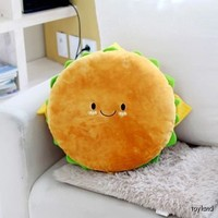 "Hamburger Plush Cushion 16"" cotton food figure toy doll king burger kawaii cute"