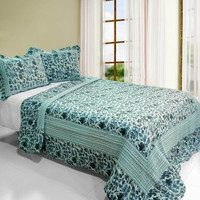[Blue Impression] 3PC Cotton Vermicelli-Quilted Printed Quilt Set (Full/Queen Size)