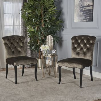 Hallie Traditional Tufted Gray New Velvet Armless Dining Chairs (Set of 2)