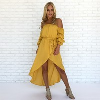 Citrus Kiss Maxi Dress in Mustard