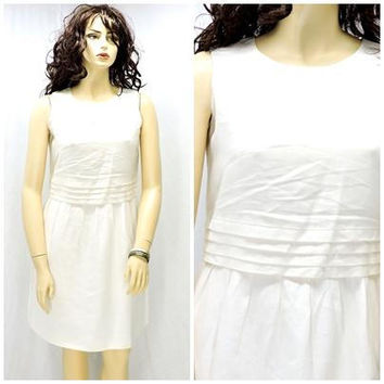 White Linen dress  / size L / Irish linen pin tucked dress / size 13 / 14 / 1980s  linen sleeveless dress / SunnyBohoVintage
