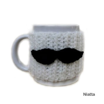 Moustache Cozy Coffee Mug Cozy Tea Cup Cozy Cup Sleeve Hug Crochet Niatta