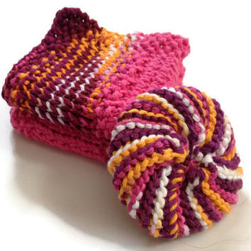 Dishcloth and Scrubbie Combo Pack Maroon Pink and Orange