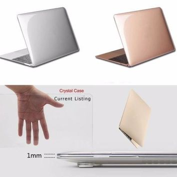 Transparent Crystal Plastic Hard Clear Laptop Shell Case Cove For Macbook air 11 12 13 15 inch Pro Retina Protector cover clear