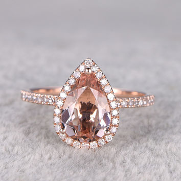 2 Carat Pear Shaped Morganite Engagement Ring Diamond Promise Ring 14k Rose Gold Halo Teardrop Design