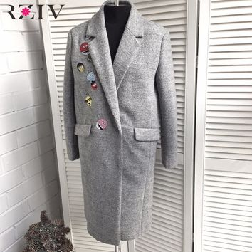 RZIV 2017 autumn and winter casaco feminino long section of  women's wool coat casual solid color embroidered coat