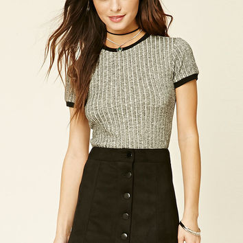 Buttoned Faux Suede Skirt