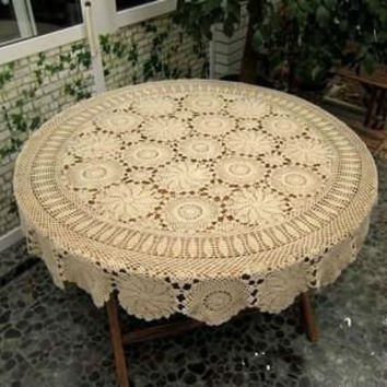 Handmade Crochet Round  Tablecloth/ Tablelinen 60 Inches , Beige