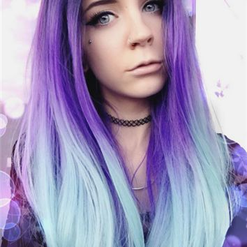 Long Larkspur Purple Green Ombre Synthetic Lace Front Wig