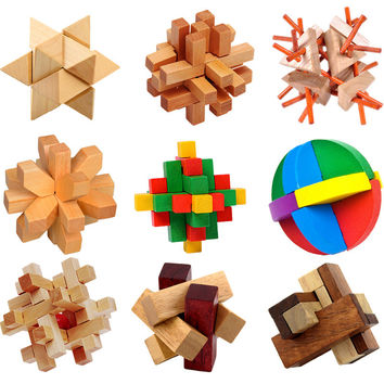 Kong Ming Luban Lock Chinese Traditional Toy Unique 3D Wooden Puzzles Classical Intellectual Wooden Cube Educational Toy Set