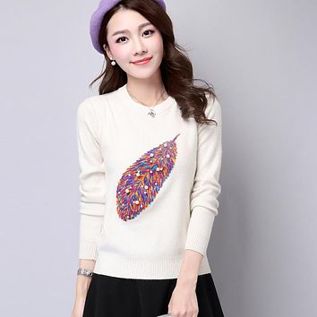 knitted sweaters women elegant pullovers sweater women's feather printed pearl beaded pullover sweater jersey jumpers
