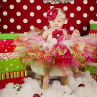 Baby Girls First Christmas Outfit-Baby Girls Christmas TuTu with Headband-Ribbon TuTu Dress-Christmas Birthday TuTu-Cake Smash
