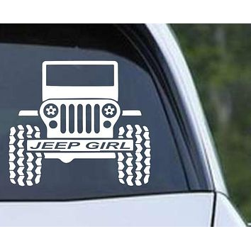 Jeep Girl CJ Front Off Road Die Cut Vinyl Decal Sticker