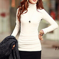 Women Pullover Casual Long-sleeve Turtleneck Sweater