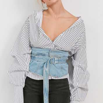 Style Mafia Denim Buckle Corset | Urban Outfitters