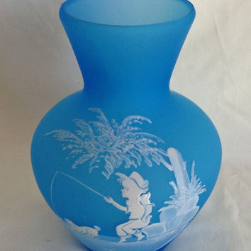 Mary Gregory Vase, Hand Painted, Signed, MINT, 40 years old, Blue Frosted Vase, Boy Fishing, Westmoreland