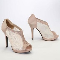 Lace High Heel Shootie with Flatback Crystals - David's Bridal