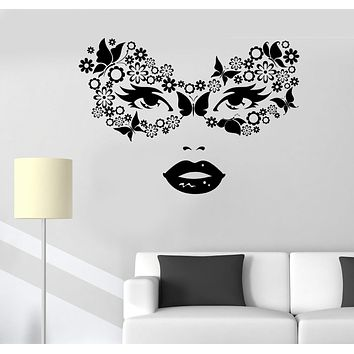 Vinyl Wall Decal Masquerade Carnival Mask Woman Beauty Stickers Unique Gift (508ig)