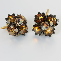 Vintage Topaz Margarita crystal Earrings, Austrian jewelry