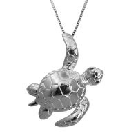 """Sterling Silver Turtle Honu Necklace Pendant with 16""""-18"""" Adjustable Box Chain"""