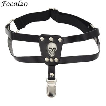 Gothic Punk Black Synthetic Leather Women Skull Decoration Leg Garter