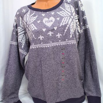 Victoria's Secret PINK sz M ~Fair Isle Sweater~ Snowflake, Boyfriend Crew, blue