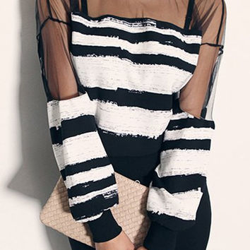 Black and White Striped Long Sleeve Mesh Shirt