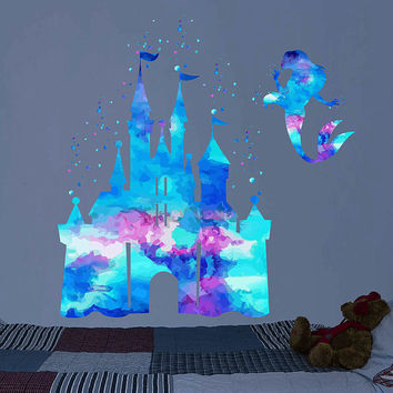 kcik1983 Full Color Wall decal Watercolor Character Disney Castle Disney Princesses Princess Ariel Sticker Disney children's room