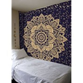 New Launched Blue Gold Passion Ombre Mandala Tapestry By Madhu International, Boho Mandala Tapestry, Wall Hanging, Gypsy Tapestry,Multicolor, 84 X 54 inches
