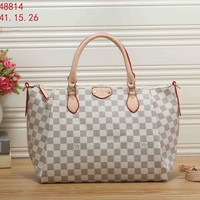 LV tide brand female large capacity classic old flower checkerboard handbag messenger bag White check