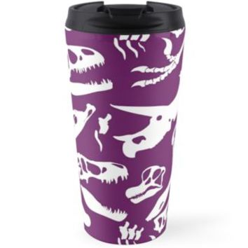 'Dinosaur Bones (Purple)' Travel Mug by thekohakudragon