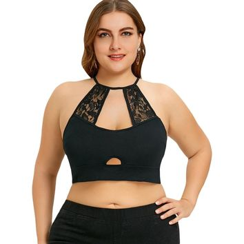 Plus Size Lace Trim Cut Out Camisole