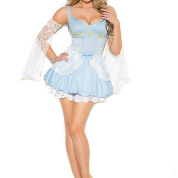 Sassy Cinder Babe - 2 pc costume includes mini dress and arm bands  Light Blue
